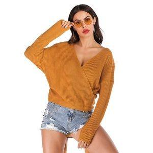 Mustard Yellow Cross Over Wrap Sweater V Neck